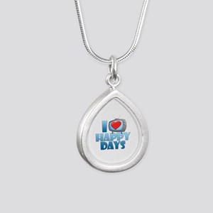 I Heart Happy Days Silver Teardrop Necklace