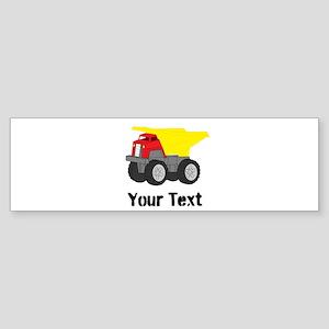 Personalizable Red Yellow Dump Truck Bumper Sticke