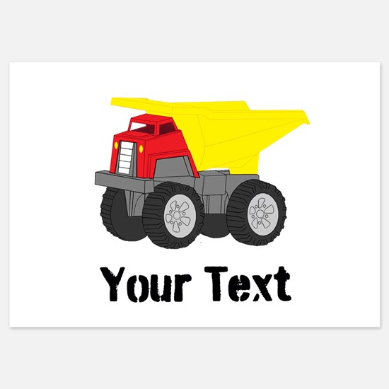 Personalizable Red Yellow Dump Truck Invitations