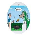 Dragon Grilling Oval Ornament