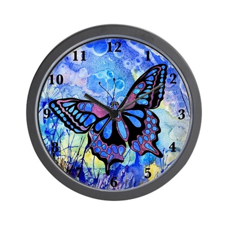 Purple Butterfly Clock Wall Clock By Zodiarts