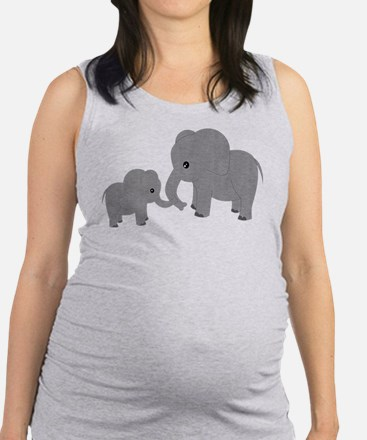 Cute Elephants Mom and Baby Maternity Tank Top