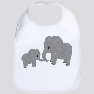 Cute Elephants Mom and Baby Bib