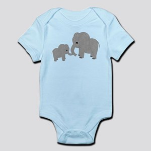 Cute Elephants Mom and Baby Body Suit