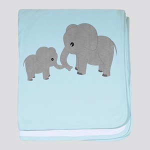 Cute Elephants Mom and Baby baby blanket