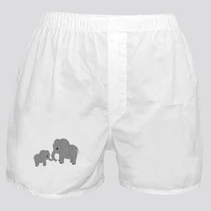 Cute Elephants Mom and Baby Boxer Shorts