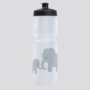 Cute Elephants Mom and Baby Sports Bottle