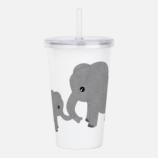Cute Elephants Mom and Baby Acrylic Double-wall Tu