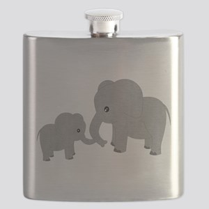 Cute Elephants Mom and Baby Flask