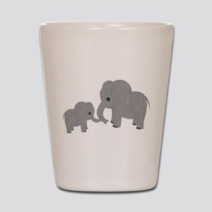 Cute Elephants Mom and Baby Shot Glass