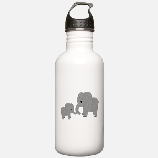 Cute Elephants Mom and Baby Water Bottle
