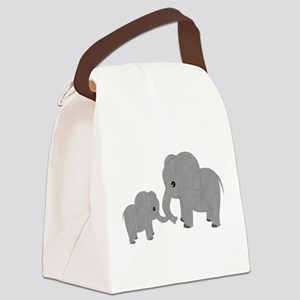Cute Elephants Mom and Baby Canvas Lunch Bag