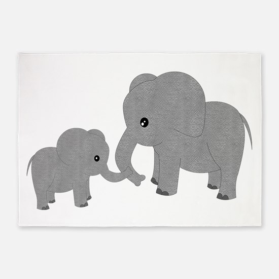 Cute Elephants Mom and Baby 5'x7'Area Rug