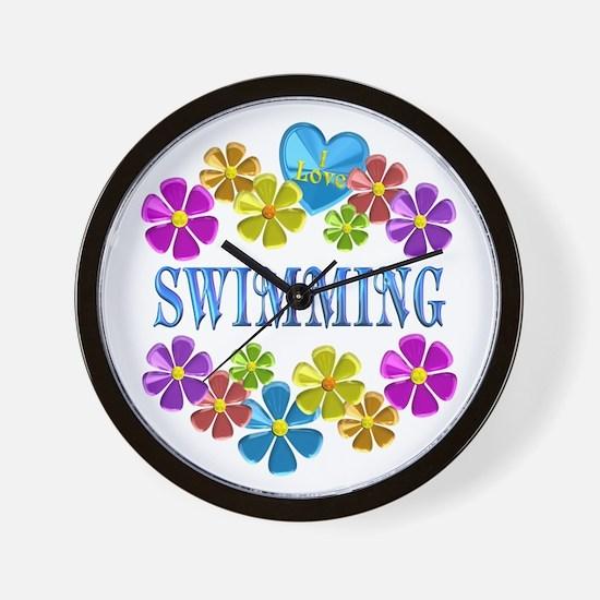 I Love Swimming Wall Clock