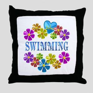 I Love Swimming Throw Pillow