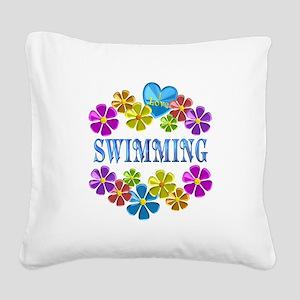 I Love Swimming Square Canvas Pillow