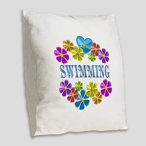 I Love Swimming Burlap Throw Pillow
