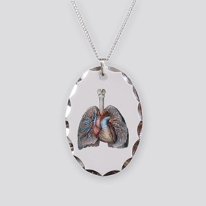 Human Anatomy Heart and Lungs Necklace Oval Charm