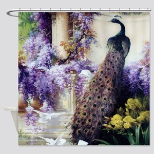 Bidau Peacock, Wisteria, Doves Shower Curtain