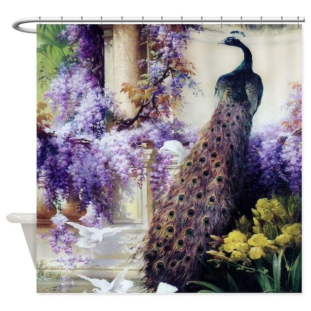 Bidau Peacock Wisteria Doves Shower Curtain By VintageEraArt