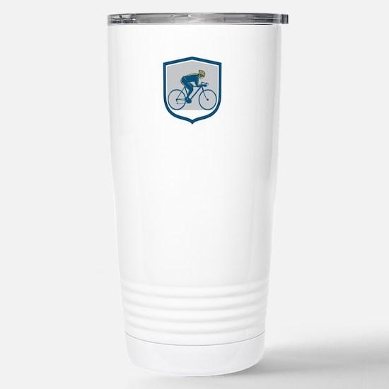 Cyclist Riding Mountain Bike Shield Retro Travel M