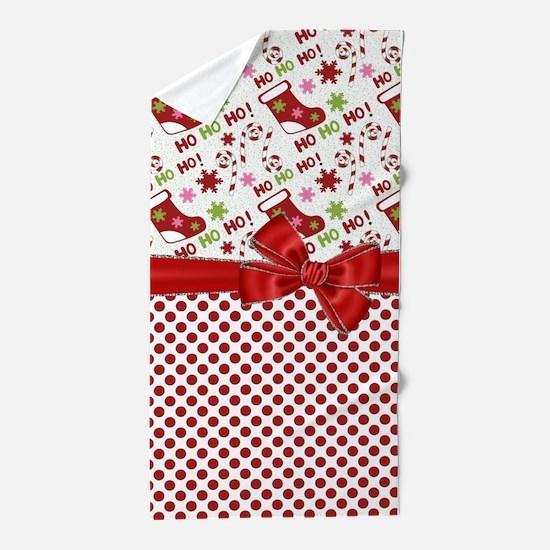 Christmas Stocking HO HO HO Beach Towel