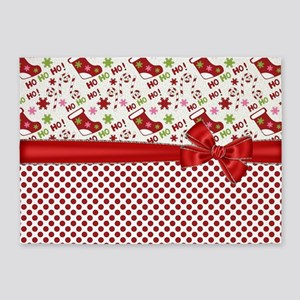 Christmas Stocking HO HO HO 5'x7'Area Rug