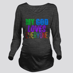 My God Loves Long Sleeve Maternity T-Shirt