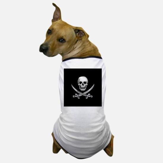 Glassy Skull and Cross Swords Dog T-Shirt