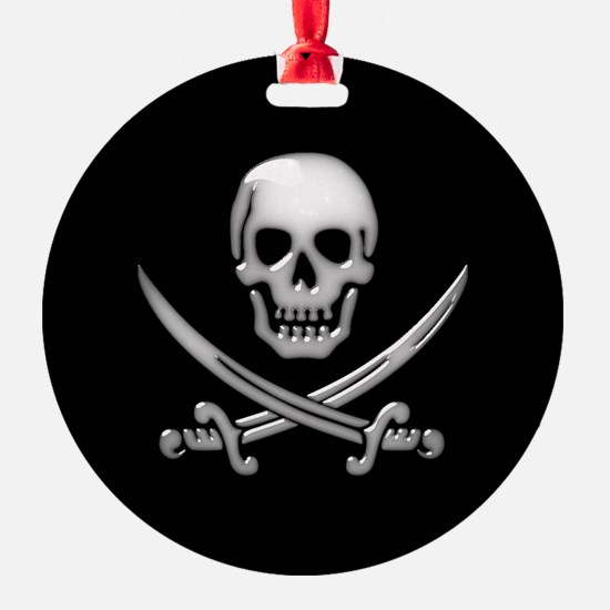 Glassy Skull and Cross Swords Ornament