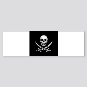 Glassy Skull and Cross Swords Bumper Sticker