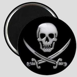 Glassy Skull and Cross Swords Magnets