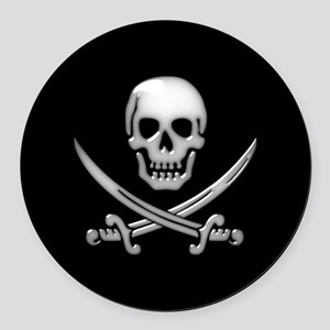 Glassy Skull and Cross Swords Round Car Magnet