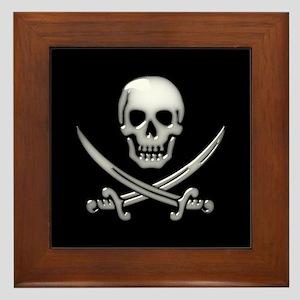 Glassy Skull and Cross Swords Framed Tile