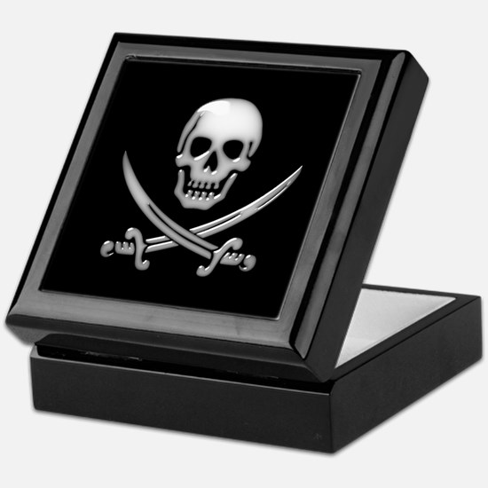 Glassy Skull and Cross Swords Keepsake Box