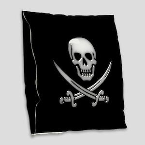 Glassy Skull and Cross Swords Burlap Throw Pillow