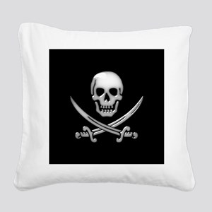 Glassy Skull and Cross Swords Square Canvas Pillow