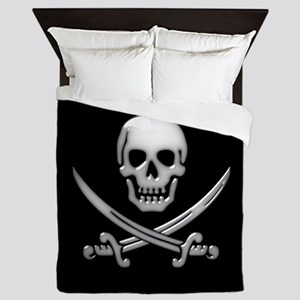 Glassy Skull and Cross Swords Queen Duvet