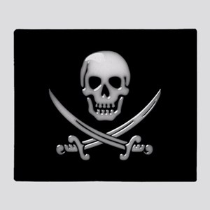 Glassy Skull and Cross Swords Throw Blanket
