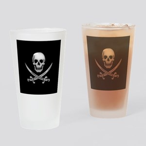 Glassy Skull and Cross Swords Drinking Glass