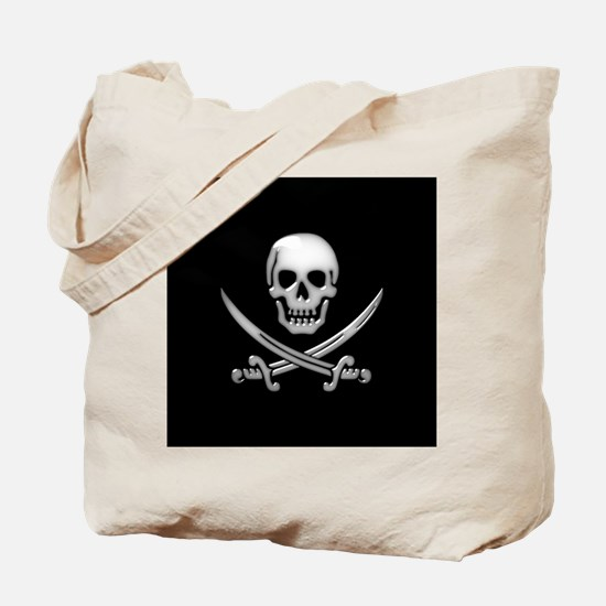 Glassy Skull and Cross Swords Tote Bag