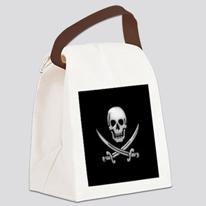 Glassy Skull and Cross Swords Canvas Lunch Bag
