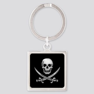 Glassy Skull and Cross Swords Keychains