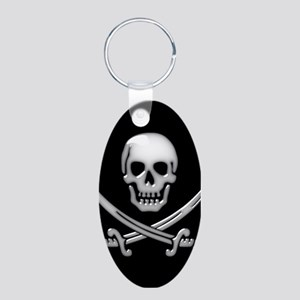 Glassy Skull and Cross Swords Keychains