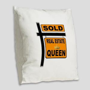 REAL ESTATE QUEEN Burlap Throw Pillow