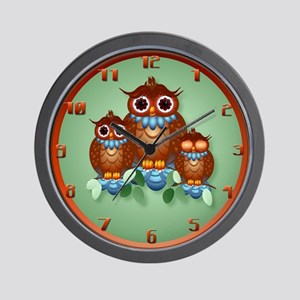Three Little Alert Owls.. Wall Clock