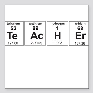 "Teacher periodic elements Square Car Magnet 3"" x 3"