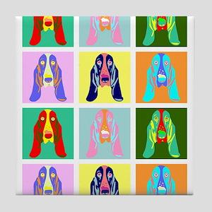 Basset Hound Pop Art Tile Coaster