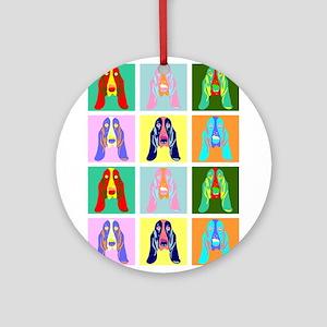 Basset Hound Pop Art Ornament (Round)