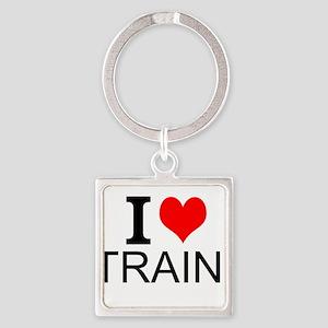 I Love Trains Keychains